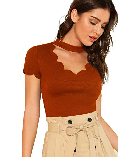 Romwe Women's Scalloped Cut Out V Neck Short Sleeve Sexy Tee Tops Rust Large