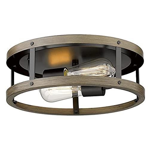 YDZB Luz de techo retro 2 llamas mesas de comedor luces colgantes imitación madera hierro luces colgantes industriales araña rural sala de estar dormitorio cocina lámpara de iluminación
