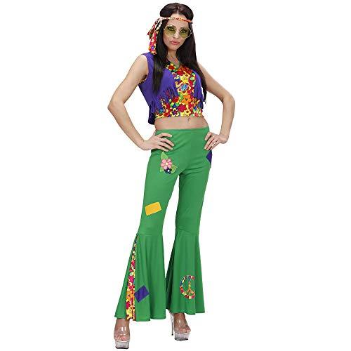 Widmann 73281 - kostuum hippie vrouw, shirt, broek en hoofdband Large multicolor