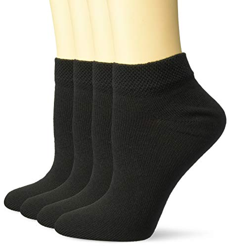 Dr. Scholl's womens 4 Pack Diabetic & Circulatory Non-binding Low Cut Casual Sock, Black, 8-12