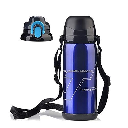 ZMING Mountainbike Waterfles, RVS Vacuümfles, Sport Outdoor Grote Water Cup Koud, Rijuitrusting (kleur: Rood/Blauw/Zwart)