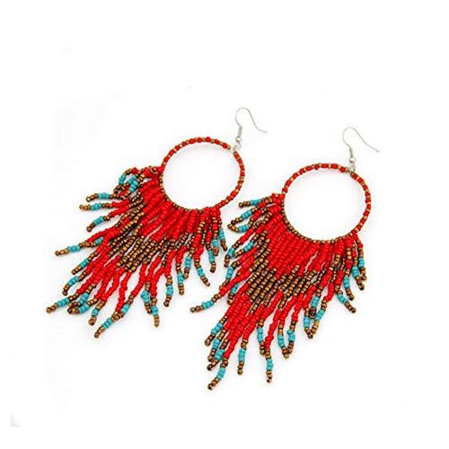Tiande Bohemian Beaded Round Earrings Handmade Statement Stud Earrings for Women Girls - Red