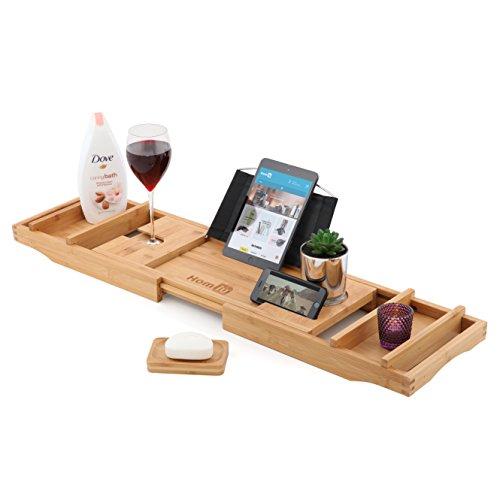 Homiu Bamboe Bad Caddy Premium Past op de meeste Baden Met Boek Rest Wijnglas Schaal Kaars Tablet Kindle Ipad En Smartphone Ondersteuning Houders