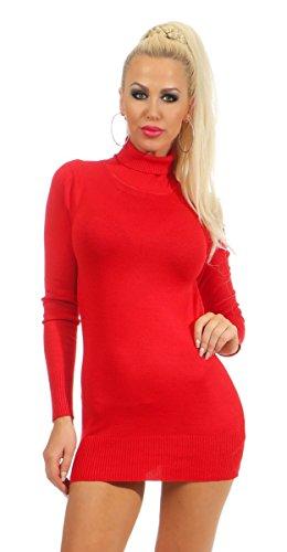 Fashion4Young K927 Damen Feinstrick Pullover Strickkleid Strickpullover Rollkragen Minikleid (rot, S/M-36/38)