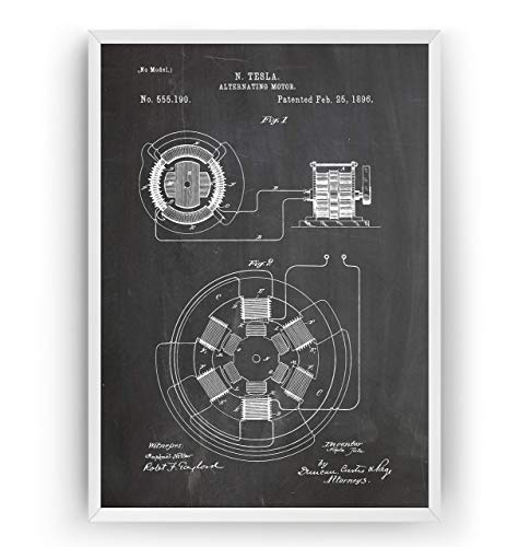 Tesla Patent Poster - Alternating Motor 1896 Print - Engineering Gift Engineer Science Vintage Blueprint Wall Art - Frame Not Included