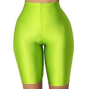 PESION Bike Shorts Women - Active Biker Yoga Shorts, Sexy Spandex Boyshort, Neon Green X-Large