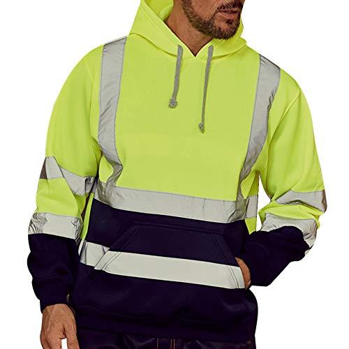 Dihope, Herren-Sweatshirt, Kapuze, hohe Sichtbarkeit, Langarm-Pullover, reflektierend, Arbeitskleidung, warm, Sweatshirt, Sicherheitsjacke Gr. 4X-Large (Hersteller Größe 5X-Large), neon Green