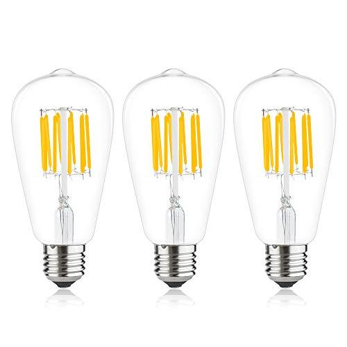 Bonlux 3-Pack 10W ST64 E27 LED lange Glühbirne Natürlich Weiße 4000K Edison Schraube E27 LED Retro-Glühlampe wie 100W herkömmliche Glühbirne (nicht dimmbar)