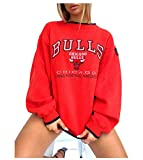 FDRYA Bulls Hoodie Mujeres Baloncesto Jersey Sudadera, Camiseta Sudadera con Capucha de Manga Larga Jersey Top Ropa de Baloncesto Entrenamiento Deportivo Red-S