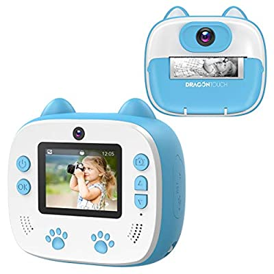 Dragon Touch Instant Print Kids Camera, InstantFun2 Digital Camera with Dual Camera Lens, Print Paper, Cartoon Sticker, Color Pens and Camera Bag for Girls and Boys from Dragon Touch