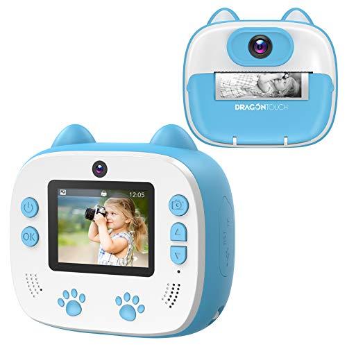 Appareil Photo Enfants à Impression, Dragon Touch Caméra Jouet Numérique avec Double Objectif,Papier d'impression, Autocollant de Dessin Animé, Crayon de Couleur pour Enfant - Bleu InstantFun2