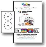 Hoja 50 de etiquetas 2 CD / DVD opaco adhesivo adhesivo etiquetas de hojas de diámetro 117 mm para láser y la impresora de inyección de tinta