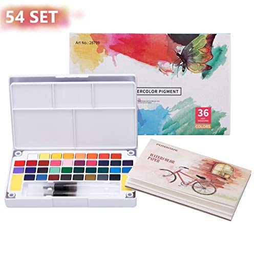 LAOYE 36 Colori Set Acquarelli Professionali Set Pittura Acquerelli Portatili Acquerelli Professionali 2 Pennelli 2 Spugne per la Pulizia 5 Carte da Acquerello