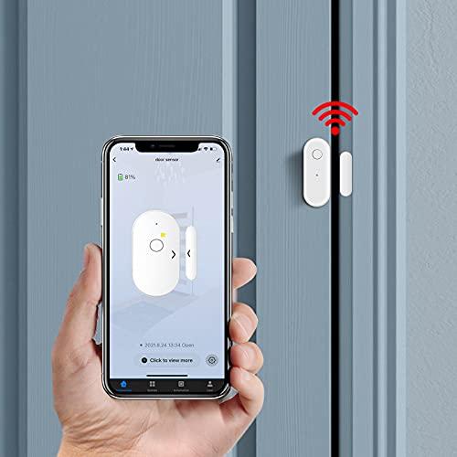 Door Sensor, Smart WiFi Wireless Window Sensor Real-time Message Notification Compatible with Alexa Google Assistant, Home Security Door Open Entry Contact Sensor, No Hub Required 1 Pack