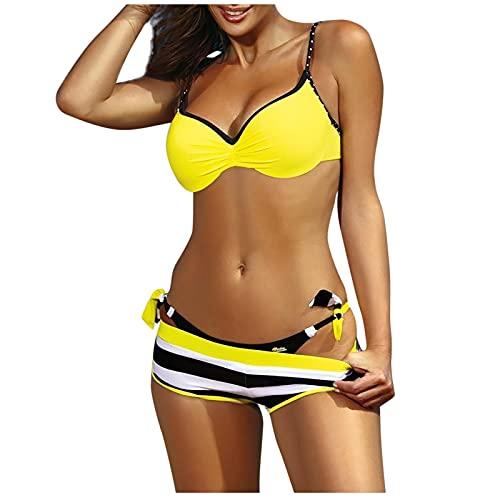 Bikinis Mujer Push Up de Tres Piezas Tops y Shorts y Bragas Bañadores Mujer Natacion Casual Sexy Traje de Baño Cuello V Atractivo Ropa de Baño Suave y Ligero Ideal para Vacaciones de Verano,Buceo