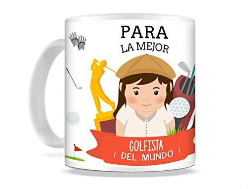 REGALOS ESTRELLA AZUL Taza de Desayuno Original para Regalar al Mejor Deportista Taza con Frases y Mensajes Divertidos y alegres Deporte, Regalo Golf (Golf (Ella))
