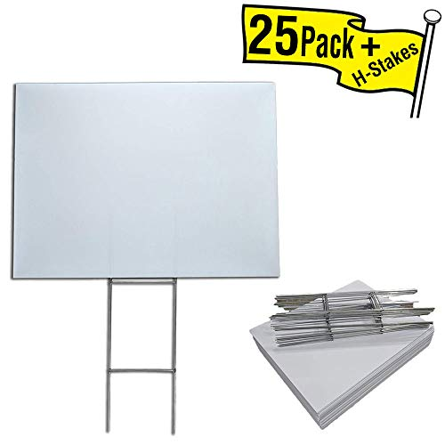 Visibility Signage Box of 25 Blank Yard Signs 18x24 with H-Stakes for Graduations, Political Parties, Businesses, or Garage Sales