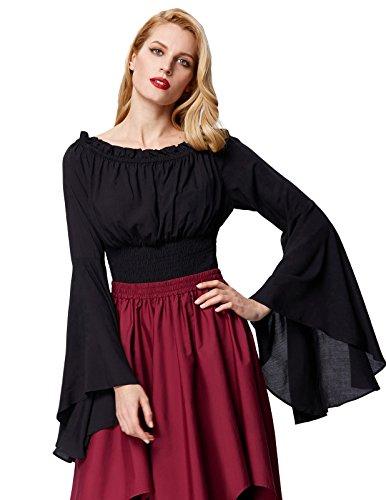 Gothic Bluse Damen Mittelalter Bluse Gothic Tops Schwarz Größe S
