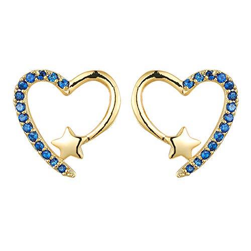 LKSDJ Pendientes de Mujer en Forma de corazón, Pendientes de Diamantes de imitación en Forma de corazón, Pendientes de Gota en Forma de corazón para niñas Dulces, joyería de cumpleaños para Mujer. G