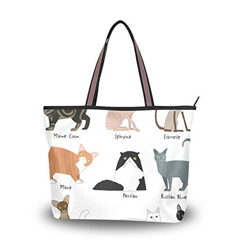 for Women Girls Ladies Student Purse Shopping Tote Bag Cartoon Animal Cat Kitten Handbags Shoulder Bags Light Weight Strap