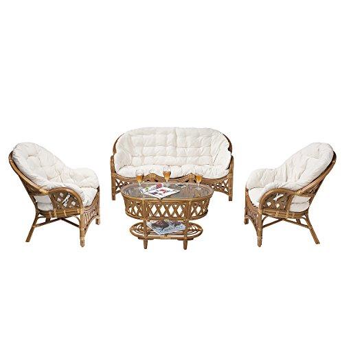Rotin Design Rebajas : -48% Conjunto salón de ratán Hold Moderno: 1 Sofa, 2 sillones y una Mesa