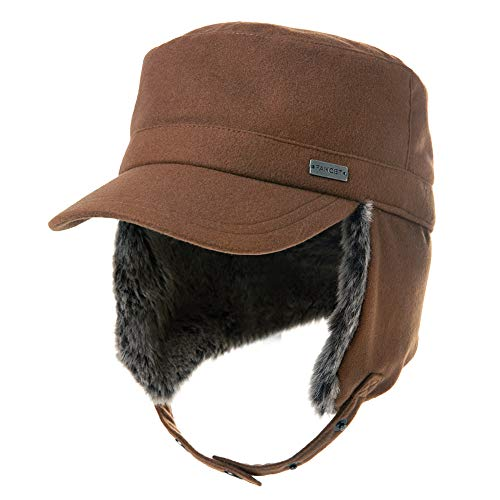 Jeff & Aimy Womens Winter Baseball Army Cap Trapper Warm Lined Military Hunting Hat Men Faux Fur Ear Flaps Muffs Ski Cold Weather Elmer Fudd Brown XL 60-62CM