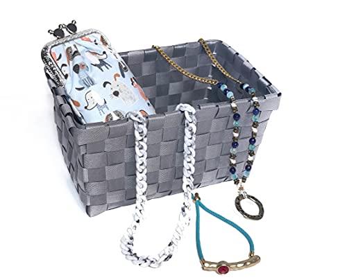 Marisuni - Pack regalo - Funda de gafas hecha a mano, Cadena para gafas o mascarilla, Collar cuelga-gafas y Pulsera - Set de regalo para mujer. Ideas para regalar. Pack Celeste.