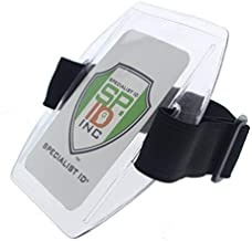 5 Pack - Armband Badge Holder with Black Adjustable Elastic Arm Band & Hook and Loop Fastener by Specialist ID