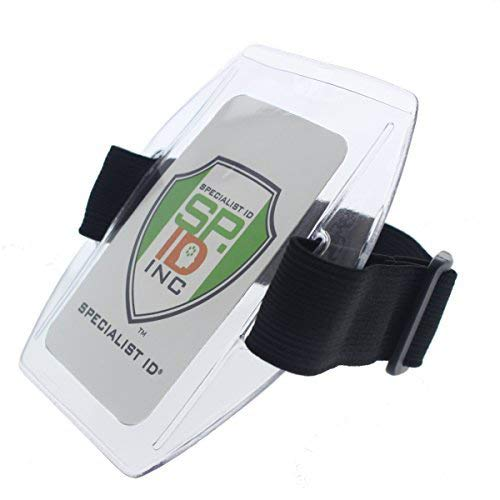 Armband Badge Holder with Black Adjustable Elastic Arm Band & Hook and Loop Fastener by Specialist ID (1 Sold Individually, Black)