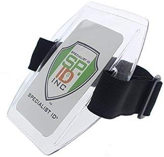Vertical Armband Id Name Tag Card Photo Badge Holder Black Elastic Strap Arm K
