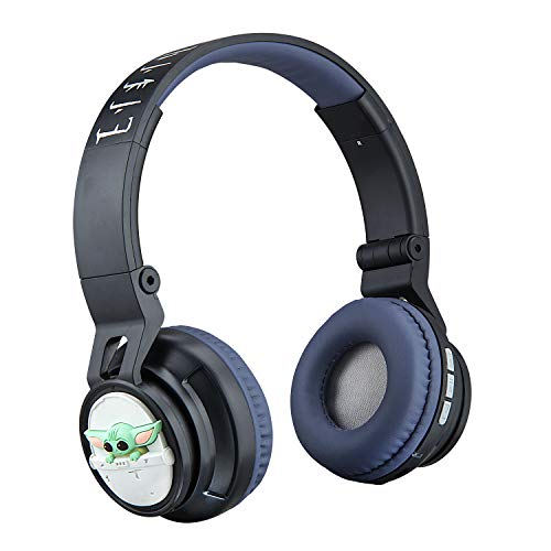 Star Wars The Child Wireless Bluetooth Headphones with Microphone Volume Reduced to Protect Hearing for Toddler Kids, Portable Rechargeable Battery, The Mandalorian, Travel Gaming