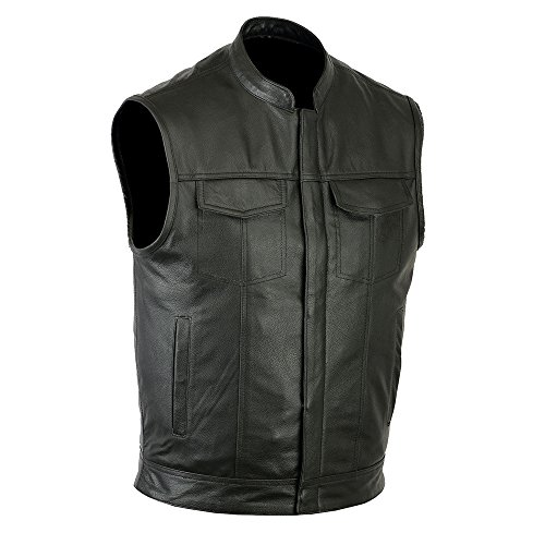 Ruja Sports SOA Style Genuine Leather Motorbike Vest with Inside Pockets, Black, X-Large