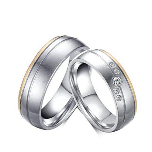 Bishilin Mode Verlobungsring Edelstahl Zirkonia Rund Hochglanzpoliert Matte Fertig Partnerring Silberringe Demen Größe 52 (16.6)&Herren Größe 60 (19.1)