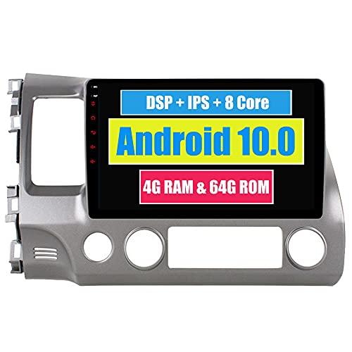 Roverone 10,2 Pouces Android 6.0 Octa Core Autoradio lecteur GPS de voiture pour Honda Civic 2006-2011 avec navigation radio stéréo Bluetooth Mirror Link Full écran tactile