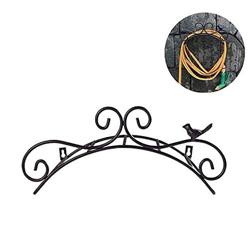 YYGQDR 14.9 Gartenschlauchhalter, dekorative Wandhalterung, Wasserschlauch Vogel hängende Aufhänger, Rack Butler Cast Antik Vogelstil Schlauchhalter Wasserrohr Lagerung Rack Rustikales Regal Schwarz