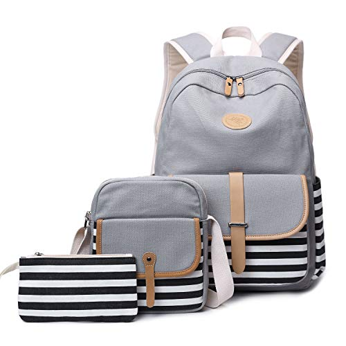 FLYMEI Grey Bookbags for Women, 15.6 Inch Laptop Backpack, Cute Backpack with Crossbody Purse for Teens, Lightweight Backpack for School
