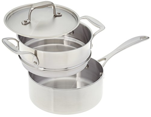 American Kitchen Cookware Stainless Steel Saucepan with Double Boiler Insert and Cover (2 Quart)