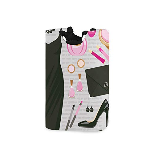 Large Laundry Basket with Handles Waterproof Washing Bin,Black Smart Cocktail Dress Perfume Make up Clutch Bag,Portable Dirty Clothes Basket for College Dorm, Family,12.6x11x22.7in