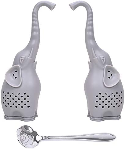 Numola Silicone Tea Infuser Set of 2 Cute Elephant Loose Leaf Tea Strainer with Stainless Steel product image