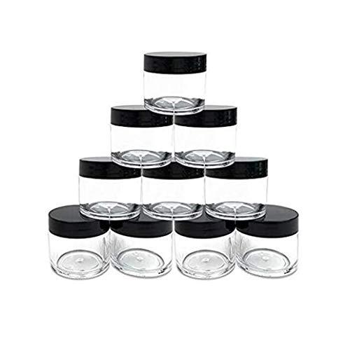 10 botes vacíos de plástico transparente de 30 g/1 oz para botellas de cosméticos con tapa de rosca negra para viajes, maquillaje de crema, uñas en polvo, gemas y perlas de joyería