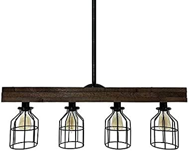 NIUYAO Farmhouse Lighting–Reclaimed Wood from Early-1900s–Rustic Lighting for Kitchen Island Lighting, Dining Room, Bar, Indu