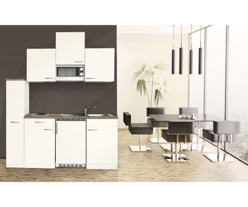 respekta Single Küche Küchenzeile Küchenblock 180 cm weiß weiß Mikrowelle Ceran KB180WWMIC