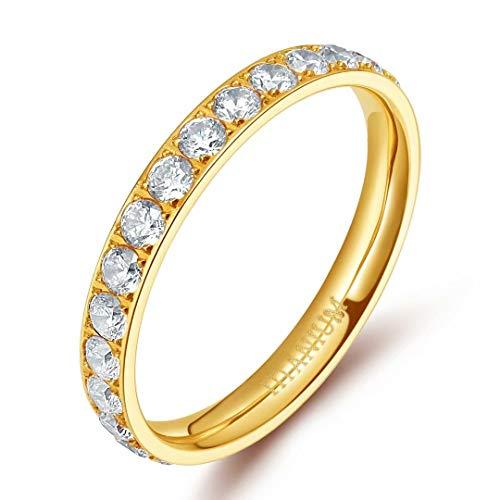 TIGRADE 3mm Women Titanium Engagement Ring Cubic Zirconia Eternity Wedding Band Size 3 to 13.5 gold