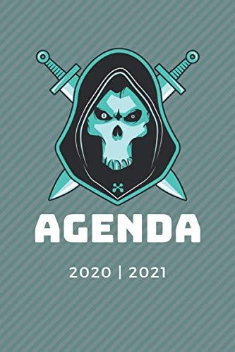 AGENDA ESCOLAR 2020 - 2021: Agenda semana vista (Septiembre 2020 / Agosto 2021)   Planificador semanal (Español)   Calendario   Colegio, secundaria, ...   Tapa blanda Gamer Cabeza de cráneo Azul