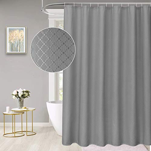 """Grey Shower Curtain,Beneyhome Extra Long Shower Curtain 80 Inches Length Long Waffle Fabric Shower Curtain for Bathroom with Metal Grommets,Weighted Hem, Machine Washable, Hotel Quality, 72"""" W x 80"""" H"""