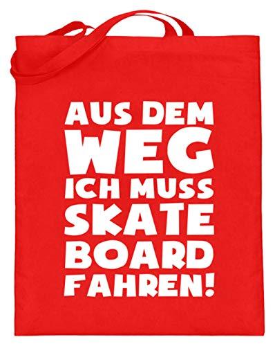 shirt-o-magic Skateboarding: Muss Skateboard fahren! - Jutebeutel (mit langen Henkeln) -38cm-42cm-Rubinrot