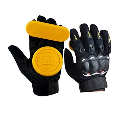 LYLTJ68 Longboard Slide Handschuhe, Skateboarding Turning Palm Finger Slider Road Board Handschuhe, für Downhill Brake,Gelb