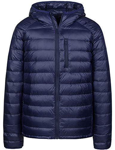 Wantdo Mens Water-Resistant Packable Ultra Light Hood Puffer Down Jacket(Navy,M)