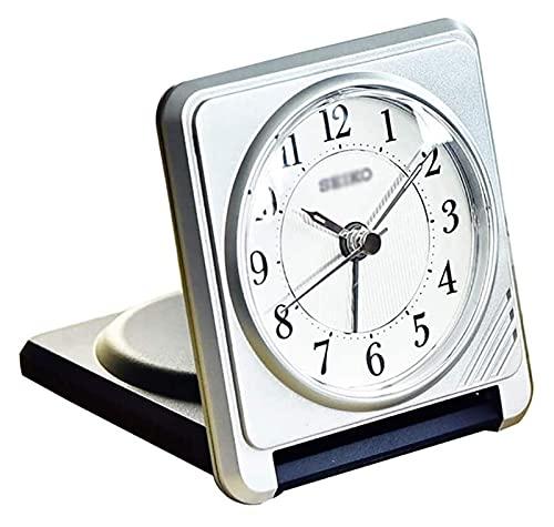 HGJINFANF Diseño de primera clase, esencial para el hogar, reloj despertador de viaje, plegable, con caja de plástico, reloj despertador para niños, fácil de repetir (color plateado)