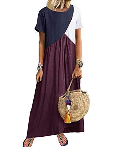 YOINS Maxikleider Damen Kurzarm Farbeblock Sommerkleid Kaftan Maxikleid Strandkleid Lang Damenkleider Bodenlanges Kleid Jersey Kleider Lila M